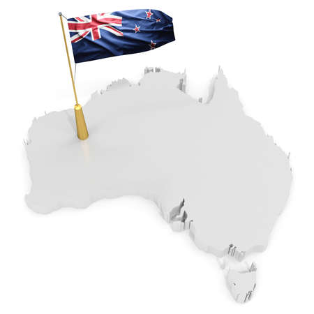 tasmania: 3d flag pole of the country with borders form on white