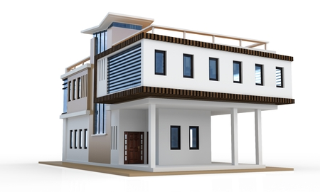 drawing a plan: 3d modern house on white background