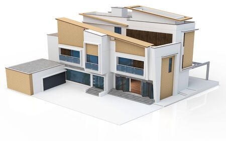 luxury house exterior: 3d render of modern house on white background Stock Photo