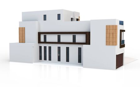 contemporary house: 3d render of modern house on white background Stock Photo
