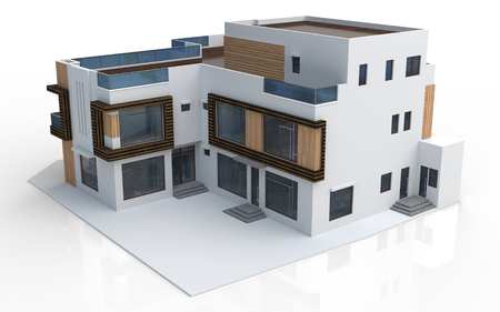 drawing a plan: 3d render of modern house on white background Stock Photo