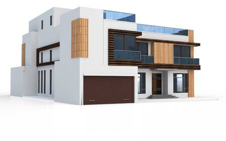 luxury home exterior: 3d render of modern house on white background Stock Photo