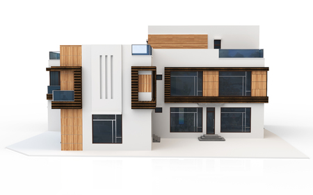HOUSES: 3d render of modern house on white background Stock Photo