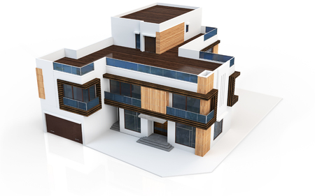 house render: 3d render of modern house on white background Stock Photo