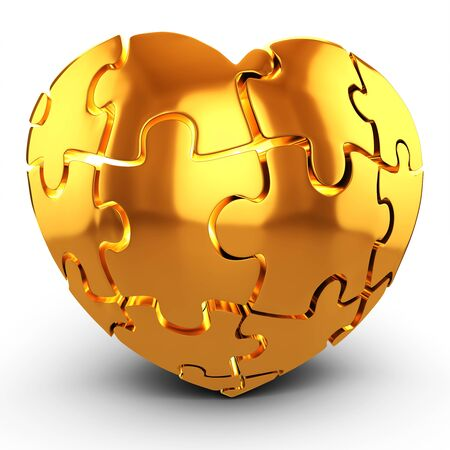 3d golden Heart puzzle on white background