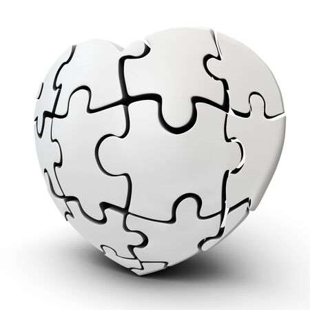 heart month: 3d Heart-Shaped Jigsaw Puzzle on white background