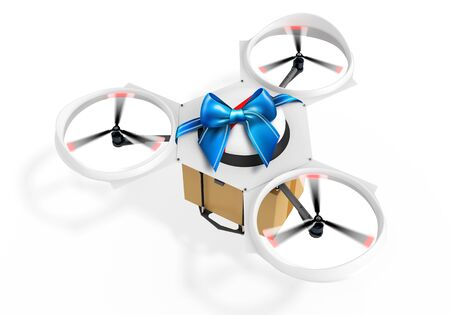 package sending: 3d delivery drone with a gift package on white background Stock Photo