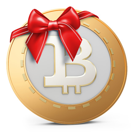 decentralized: 3d golden Bitcoin coin with red bow on white background