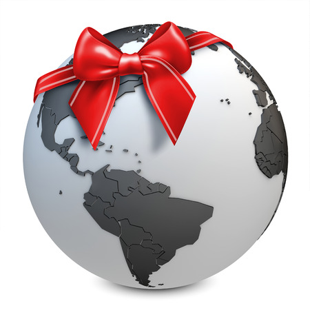 3d earth globe black with red bow on white background