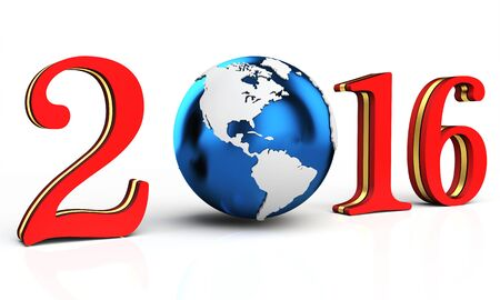 image date: 3d happy new year 2016 earth globe on white background Stock Photo