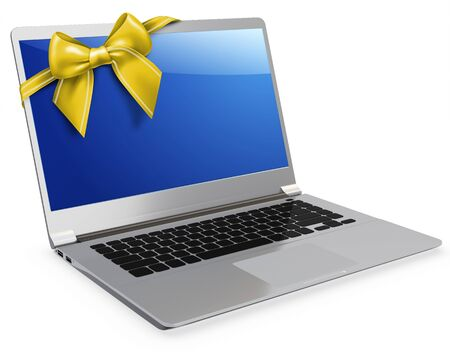 flexible business: 3d detailed laptop with yellow bow on white background Stock Photo