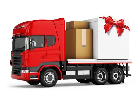 szállítás: 3d teherautó csomagok szállítási fehér alapon Stock fotó