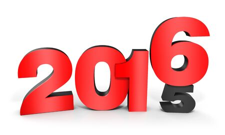 image date: 3d happy new year 2016 text on white background Stock Photo