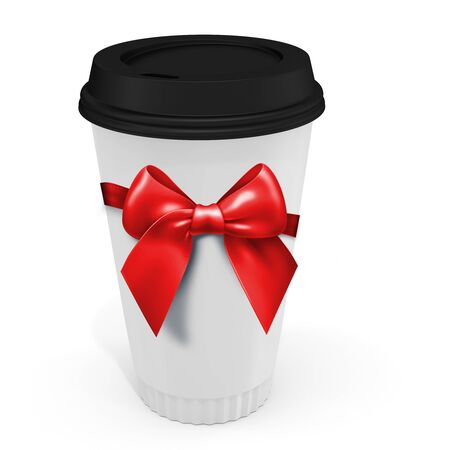 polystyrene: 3d Coffee Cup with bow on white background Stock Photo