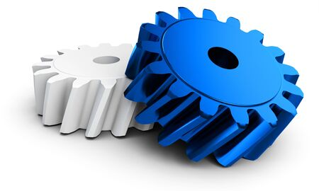 3d detailed metallic gears on white background Stock Photo
