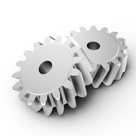 machined: 3d detailed metallic gears on white background Stock Photo