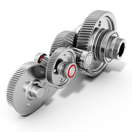 meshing: 3d detailed metallic gears on white background Stock Photo