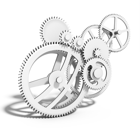 gear: 3d detailed metallic gears on white background Stock Photo