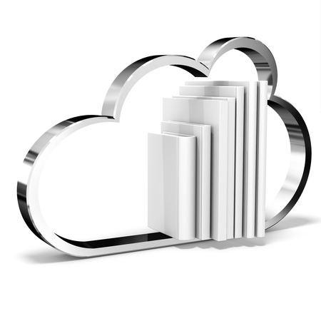torrent: 3d cloud with blank books on white background