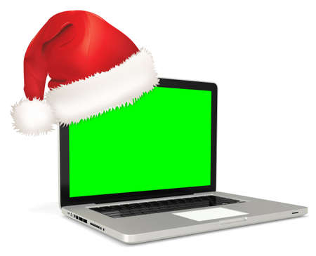 flexible business: 3d detailed laptop with santas hat on white background Stock Photo