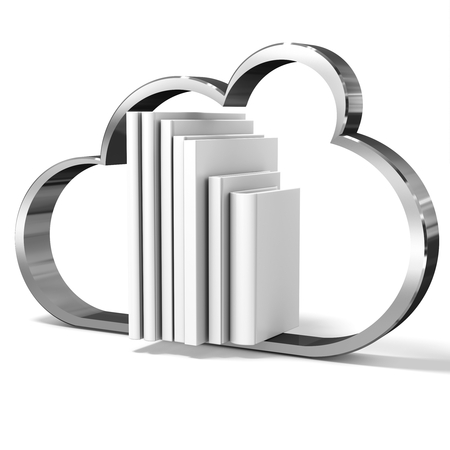 3d cloud with blank books on white background