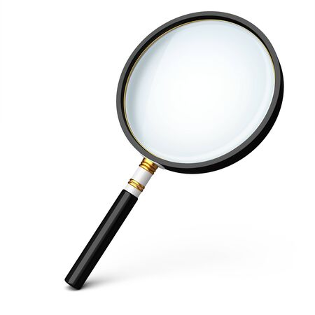 3d detailed magnifying glass on white background