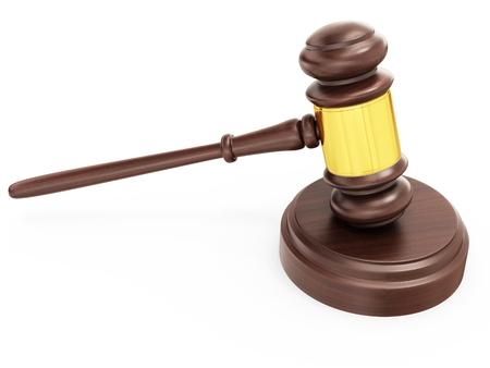 justicia: 3d martillo de madera juez, abogado y concepto de la justicia sobre fondo blanco. Foto de archivo