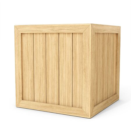 crate: 3d new wooden crate on white background