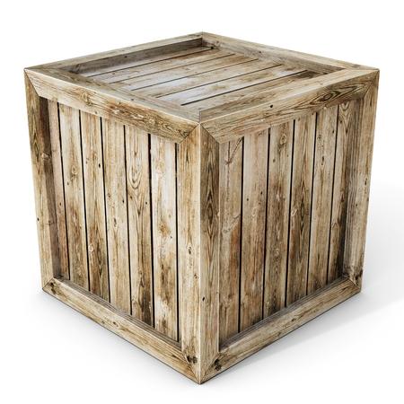 3d oude houten kist op een witte achtergrond Stockfoto