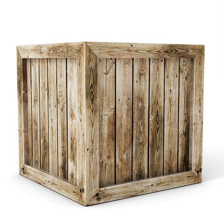 product box: 3d old wooden crate on white background