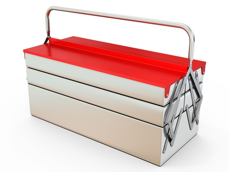 box cutter: 3d closed metallic toolbox on white background