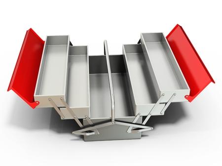 3d metálico caja de herramientas vacía en el fondo blanco