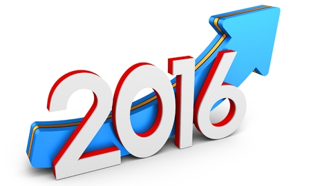 turns of the year: 3d 2016 year with arrow up, growth concept on white background