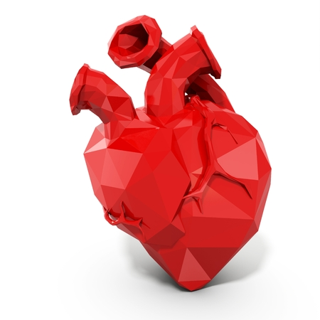simplified: 3d human heart with faceted low-poly geometry effect on white background