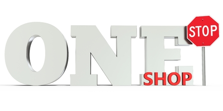 one: 3d one stop shop sign on white background Stock Photo