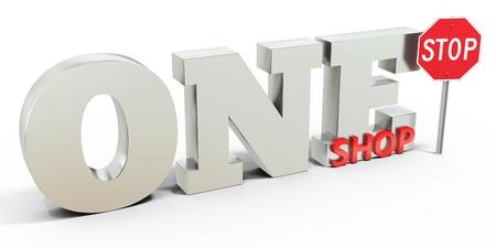 3d one stop shop teken op een witte achtergrond Stockfoto