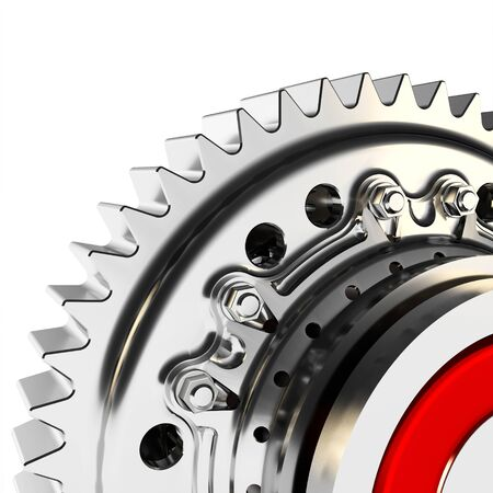 meshing: 3d detailed metallic gear on white background Stock Photo