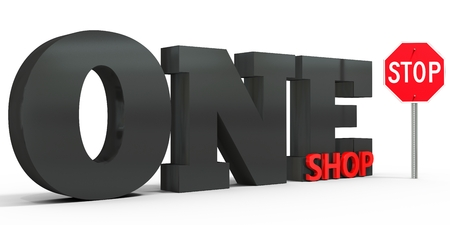 sign board: 3d one stop shop sign on white background Stock Photo