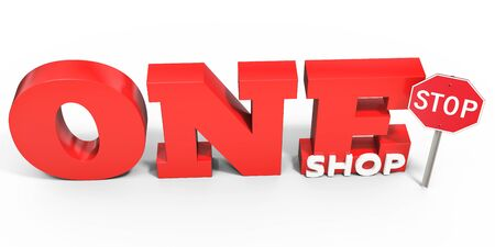 one on one: 3d one stop shop sign on white background Stock Photo