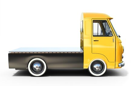 3d yellow vintage truck  platform on white background Stock Photo