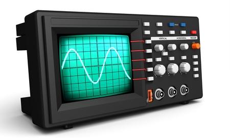 oscillations: 3d modern device oscilloscope on white background