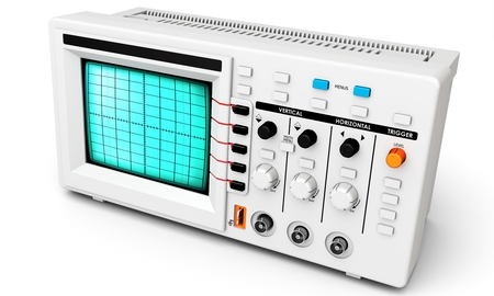 oscillations: 3d modern device oscilloscope on white background