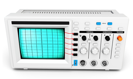 audiowave: 3d modern device oscilloscope on white background