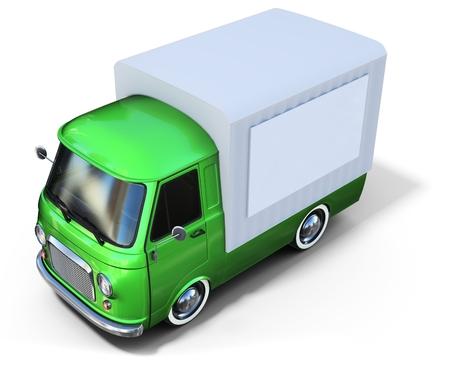 retro truck: 3d green vintage van on white background