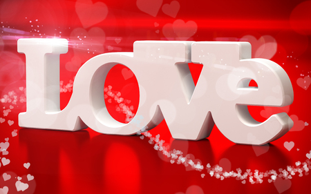 paramour: 3D love text with hearts  on red  background
