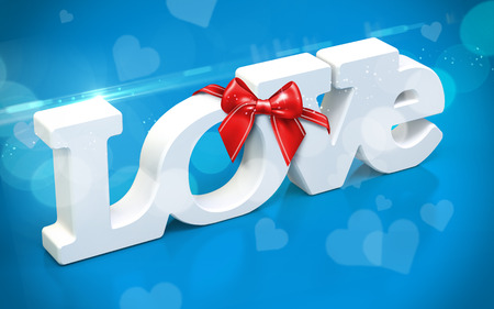 3D love text with bow and hearts  on blue  background