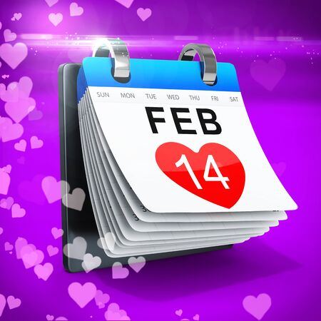 14 feb: 3D calendar showing valentines day on magenta  background
