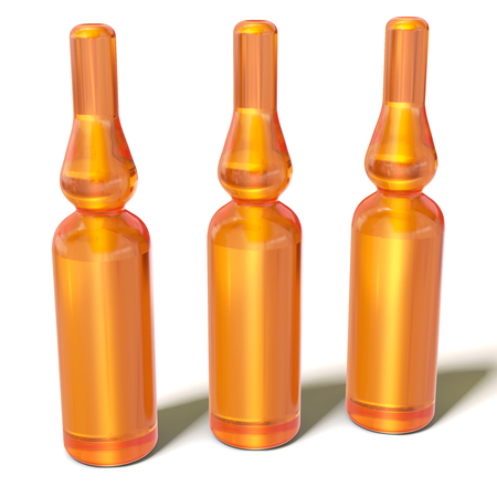 ampoules: 3d Glass Medical Ampoules Bottles Isolated on White Background Stock Photo