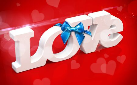 paramour: 3D love text with bow and hearts  on red  background