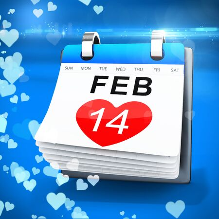 14 feb: 3D calendar showing valentines day on blue  background